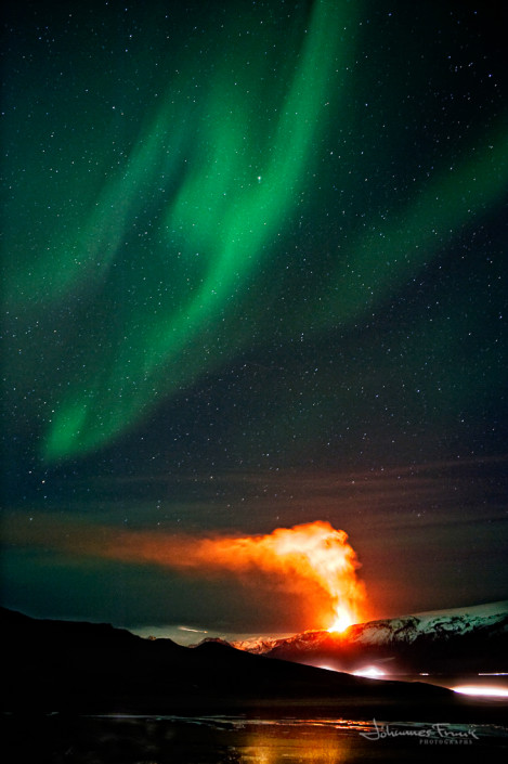 Glacier Myrdalsjokull and volcano with Northern Lights Johannesfrank