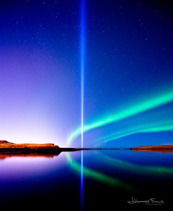 Aurora and the Paece Tower Light in Reykjavik Johannesfrank