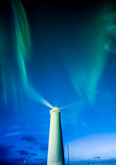 The lighthouse at Gardskagi under Northern Lights