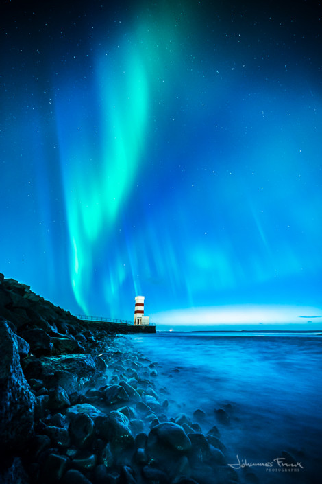 The old Lighthouse at Gardskagi and Northern Lights