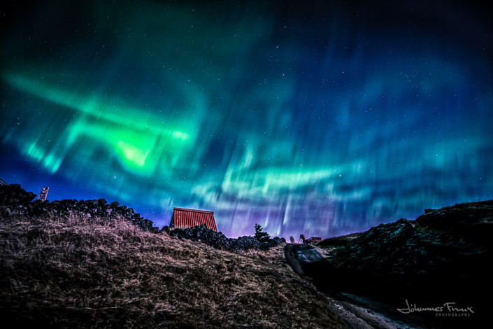 The old houses at Hraun and Northern Lights
