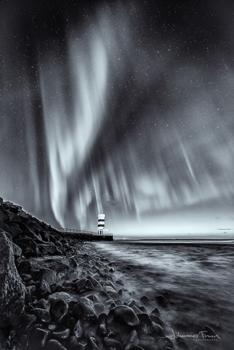 Northern Lights in Black and white over lighthous Gardskagi