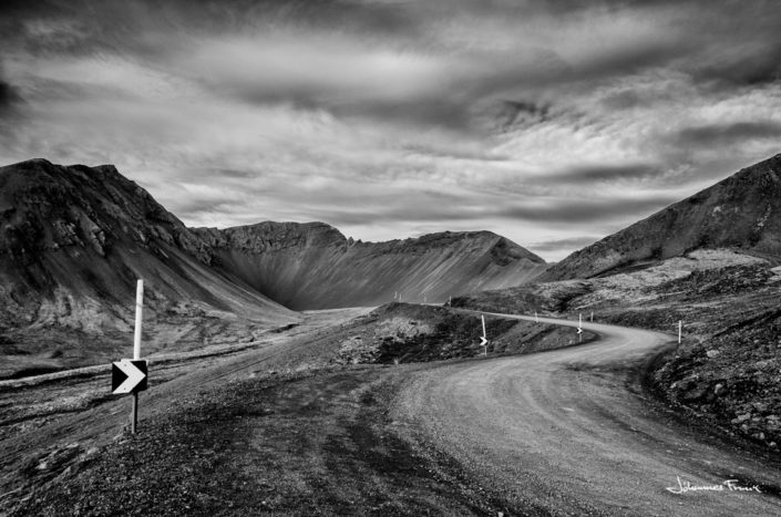 Black and White Photography Johannes Frank Hrafnseyrarheiðin road johannes Frank
