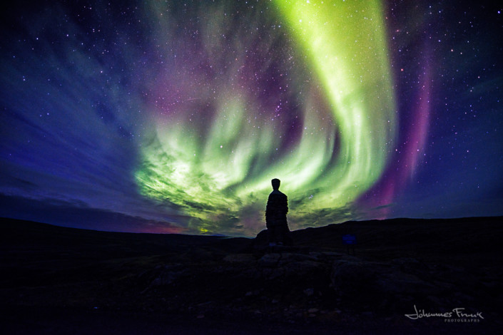 Kleifarkallinn statue in the West Fjords and Northern Lights