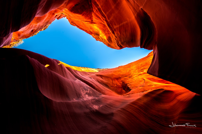 Looking up to Blue sky Antilope Canyon Johannes Frank