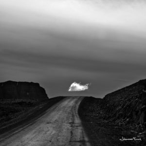 Black and White Photography Johannes Frank Single Cloud over gravel road in Iceland Johannes Frank