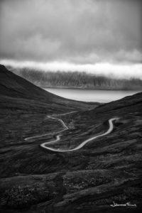 Black and White Photography Johannes Frank The road over mountain at Hrafnseyri Arnarfirdi Johannes Frankl