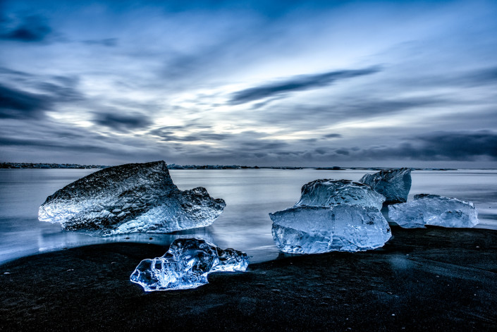 Blue Light Ice on the beach at Glacier Lagoon Johannes Frank