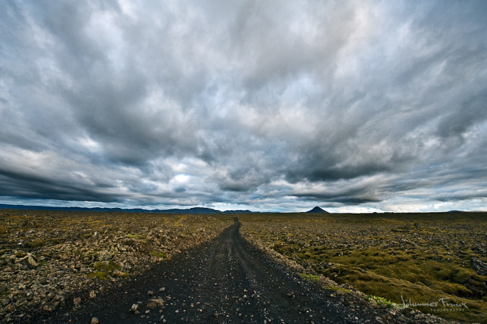 Icelandic landscape Road thru Lave fields to Mount Keilir Johannes Frank