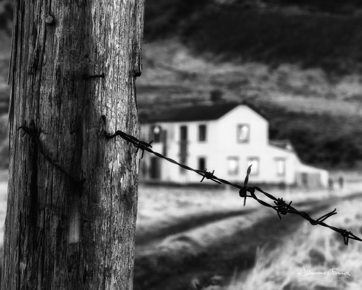 barbwire with abandoned house at sveinseyri