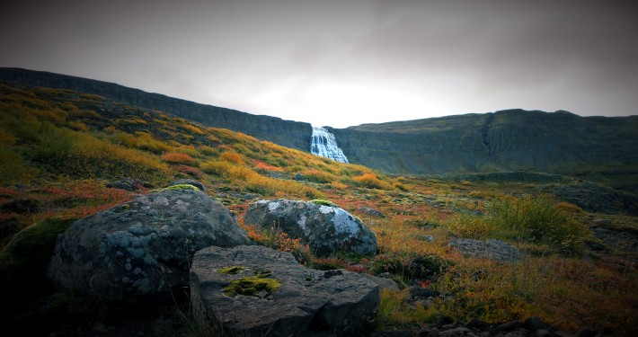 The Waterfall Dynjandi from a far