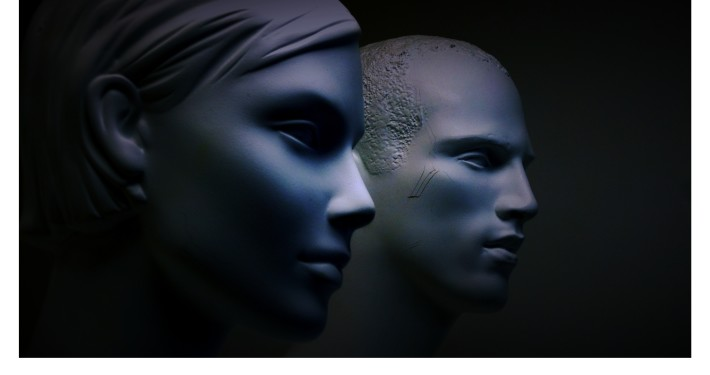 manikins in blue light
