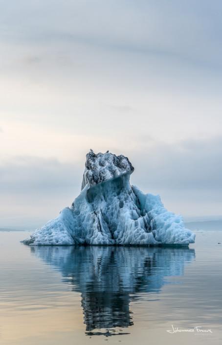 Iceberg with birds on the Blue Lagoon