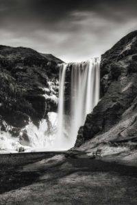 Icelandic landscape Skogafoss frosen waterfall