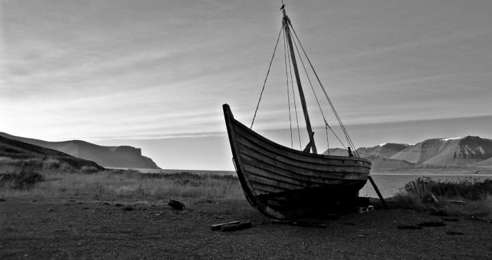 A Viking ship in Thingeyri Iceland