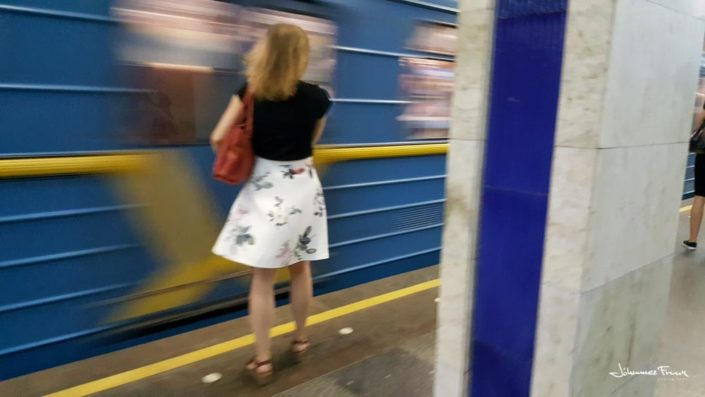 Girl waite for the train at Kiev metro johannes frank