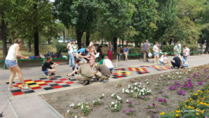 Painting in the park Mariupol colours