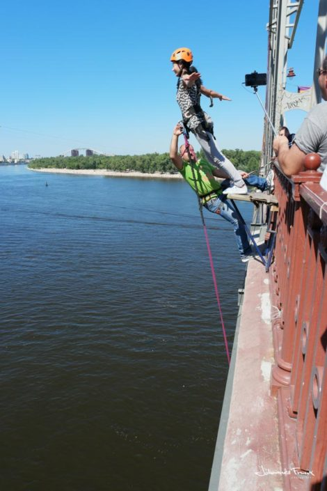 Bungy jump from a bridge in Kiev